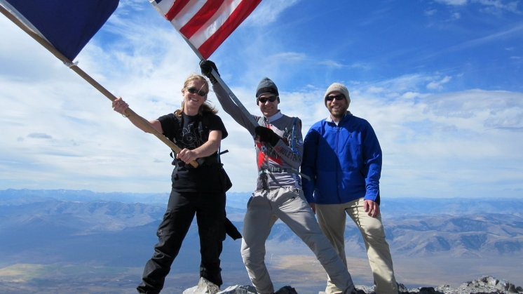 Jill, Bill, Norman on top of Borah Peak at 12,663 feet