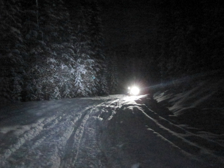 Snow biking at night