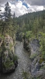 Pine trees lean over the sluice box canyons