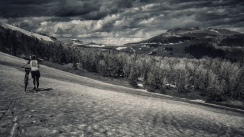 Mo navigates a snow field