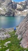 Mo navigates a rocky pass as we make our way around Glacier lake