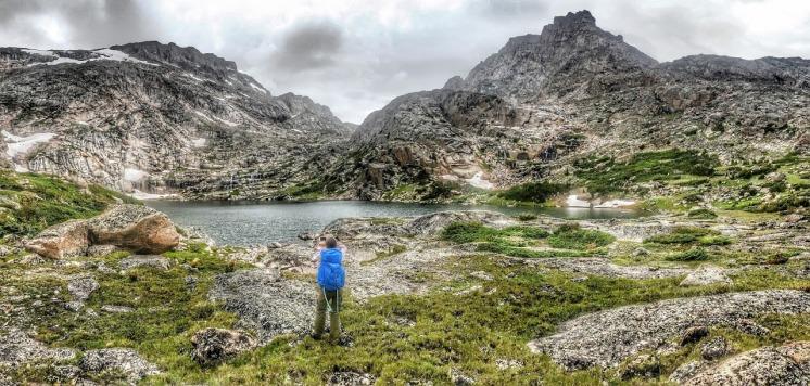 Mo checkes out sheep lake