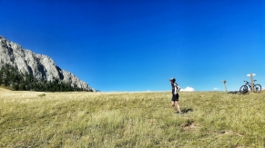 Mo looking up at Ross Peak