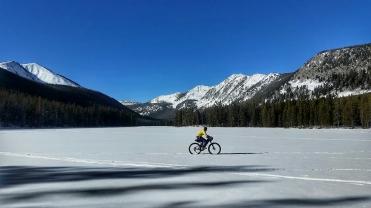 Mo riding across twin lakes
