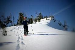 Alden descends the ridge.