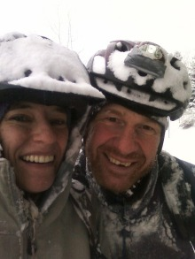 Mo and I after a snow bike ride in a storm ... happy happy