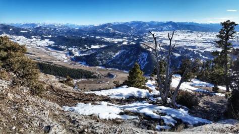 Our turn around spot above the M is a cozy little viewing perch looking over Bridger Canyon and Bozeman Pass.