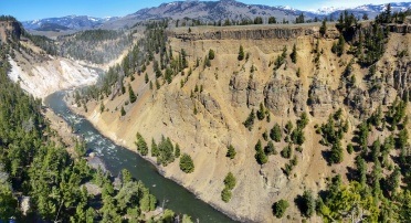 Looking down the beginning of the grand canyon of the Yellowstone