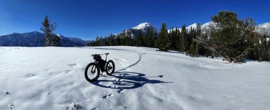 Riding the ridges on a shelf of frozen snow.