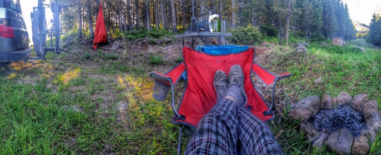Relaxing at camp