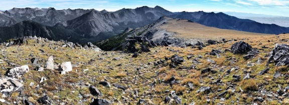Coming off of the unnamed 10,059 foot summit