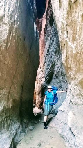 Mo poses in a narrow spot