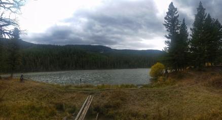 Mo rides by Rat Lake