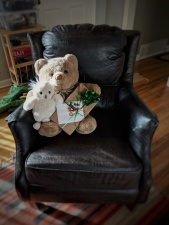 Owly and M. R. McBear wait for thier friend to present gifts