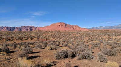 One can see the backside of Snow Canyon in the distance
