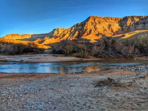 Sun starts to set along the Virgin River