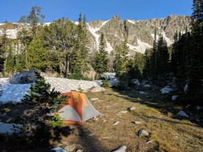 The morning sun hit our tent and I attempt to dry my gear from the hike up last night.