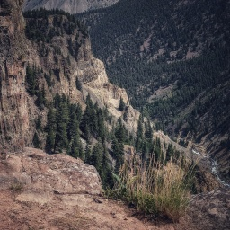 Looking down river of Sheepeater Canyon.